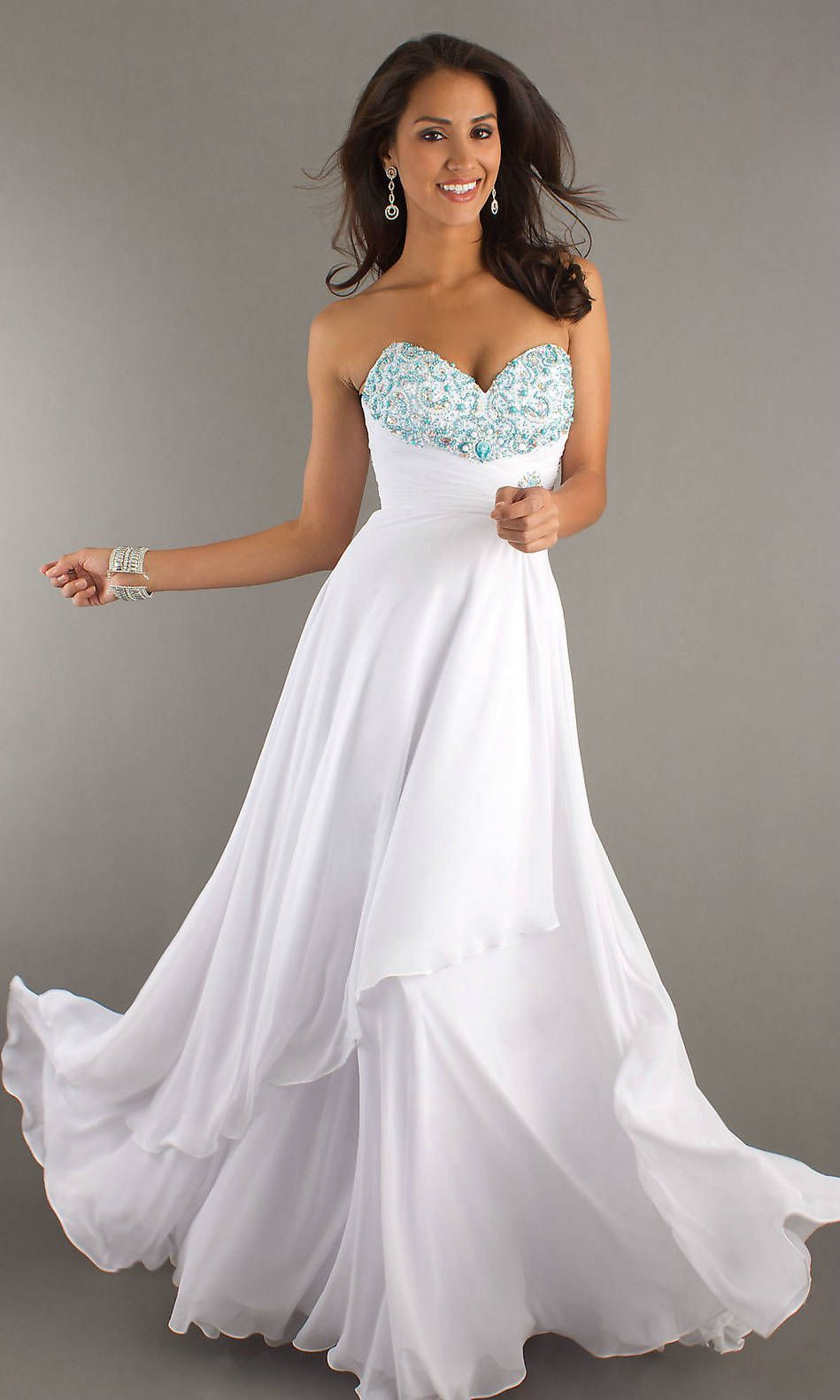 1000  images about White Prom Dresses on Pinterest | Embellished ...