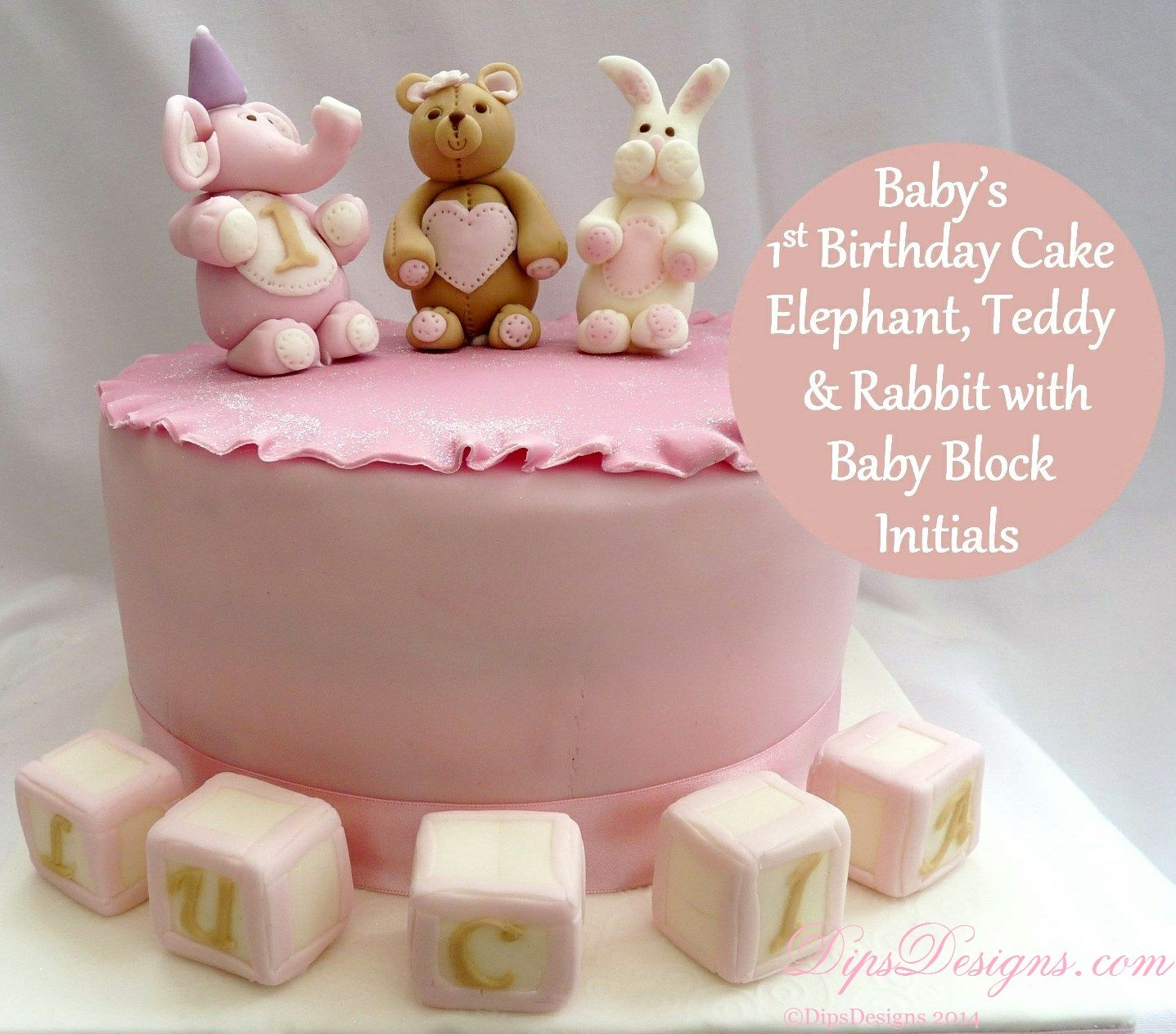 Baby Girl 1st Birthday Cake with fondant Teddy Bear Elephant