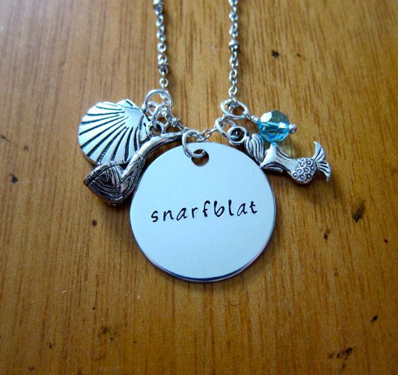 """ARIEL THE LITTLE MERMAID /""""SNARFBLAT/"""" CHARMS NECKLACE SEA SHELL PIPE"""