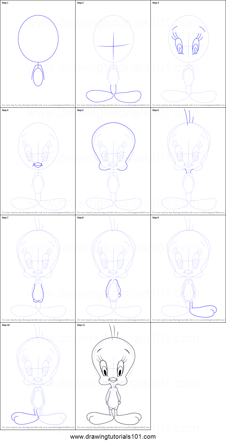 How to Draw Baby Tweety from Baby Looney Tunes printable step