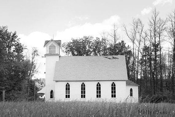 Old White Church Church Photograph White Church by MollysMuses