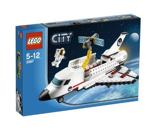 "Lego- City 3367 Space Shuttle by LEGO. $54.98. Includes astronaut minifigure in spacesuit. Space Shuttle measures over 8"" (20cm) tall and 10"" (25cm) wide. Open cargo bay doors!. Telescope measures over 2"" (5cm) long and 3"" (7cm) wide. Catch and release the Hubble Space Telescope with the robotic arm!. Features the Hubble Space Telescope. Lego- City 3367 Space Shuttle"