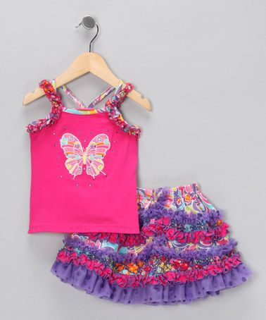 Take a look at this Hot Pink Butterfly Tank & Skirt - Infant, Toddler & Girls by GiGi on #zulily today!