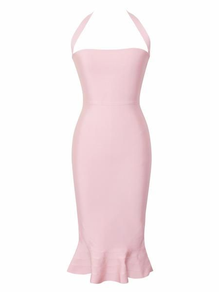 Claire Pink Halter Bandage Dress with Flare