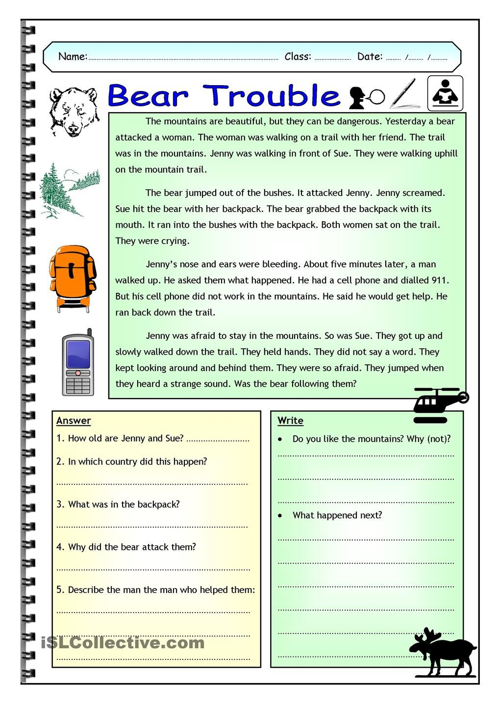 - Imaginative Reading Comprehension - Bear Trouble (Elementary
