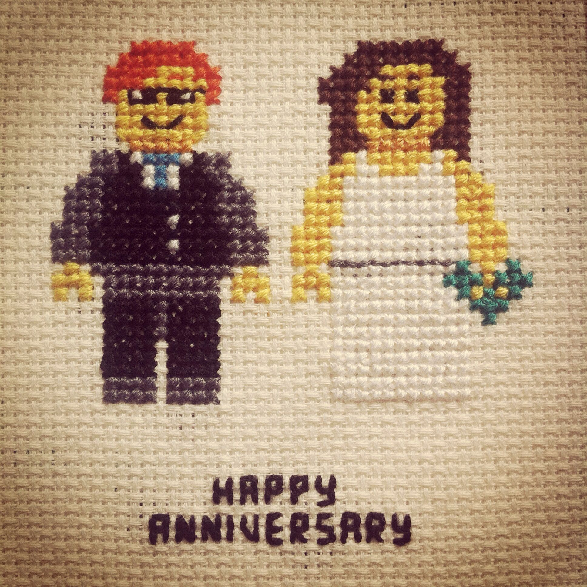 2nd Wedding Anniversary (Cotton) - Lego Cross Stitch Artwork Gift
