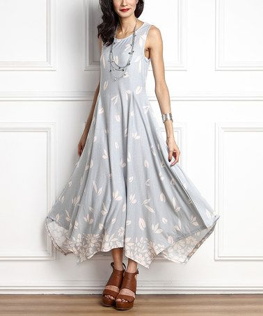 Another great find on #zulily! Gray Floral Sleeveless Handkerchief Maxi Dress #zulilyfinds