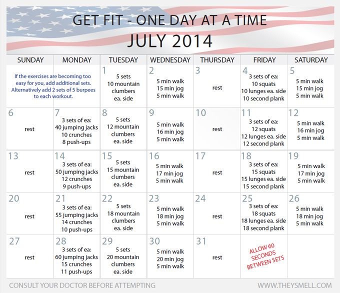 Daily Beginner Workout Plan for July Workout plans, Monthly - weekly exercise plans