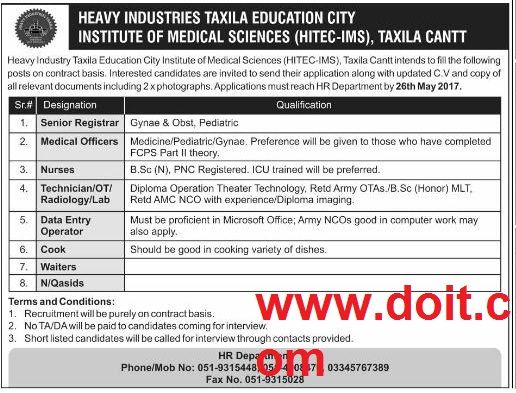 Taxila Heavy Industries Taxila Education City Institute Of Medical