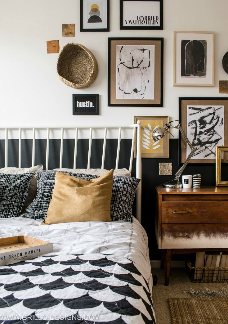 Asymmetrical gallery wall in small bedroom makeover & Modern Vintage Small Bedroom Makeover   Pinterest   Gallery wall ...