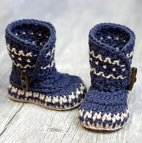 This pattern is available for $5.50 USD | Baby Booties (knit-crochet ...