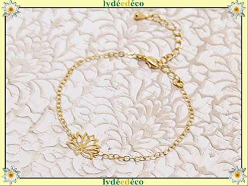Bracelet LOTUS adjustable gold lotus leaf personalized gifts christmas anniversary jewelry ceremony wedding guests mother's day bridesmaid of honor