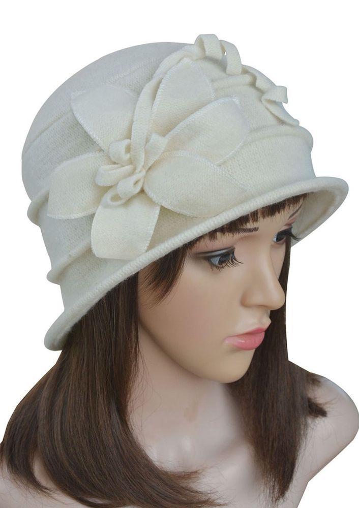 Beige A219 Floral Ladies 1920s Winter Wool Cap Crochet Bucket Church Hat #Cloche