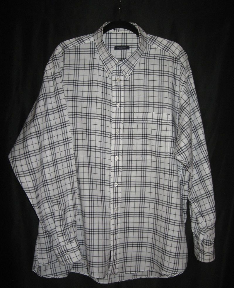 BURBERRY LONDON Mens Plaid Shirt XXL Nova Check White Long Sleeve