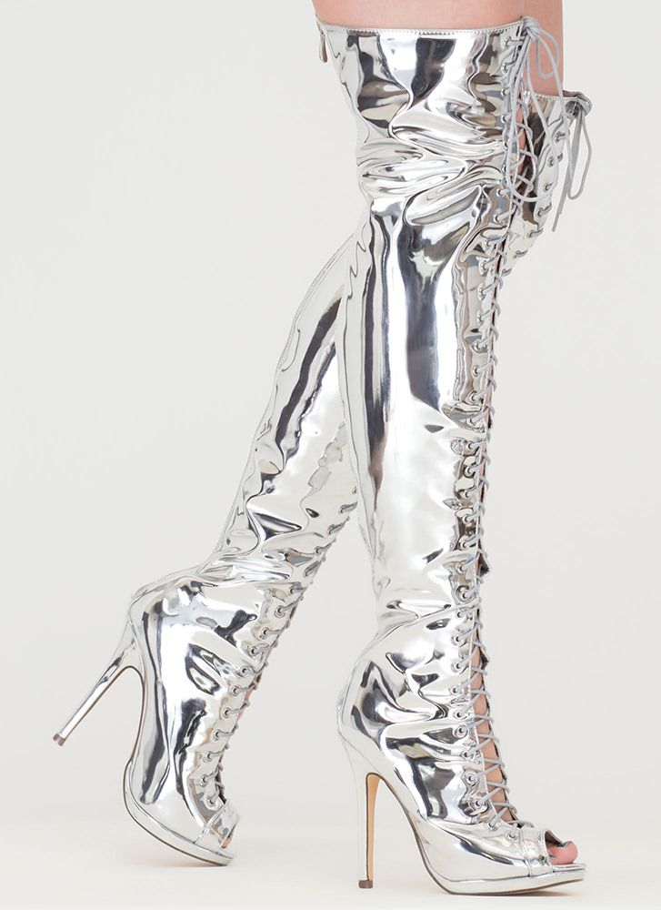 4033f6b83862 Gloss Over Lace-Up Thigh-High Boots SILVER