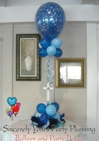 Triad balloon centerpieces winston salem party decorations for Balloon decoration ideas for christening