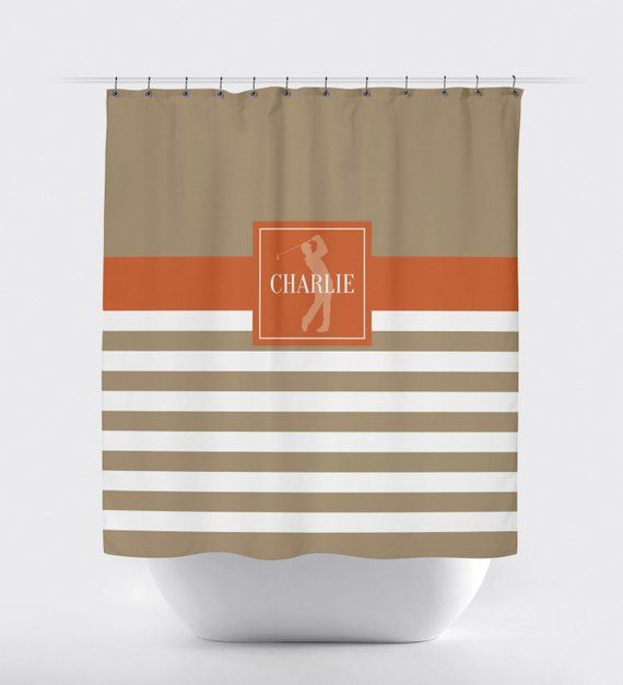 Golf Shower Curtain For Boys Monogrammed Name Preppy Stripe
