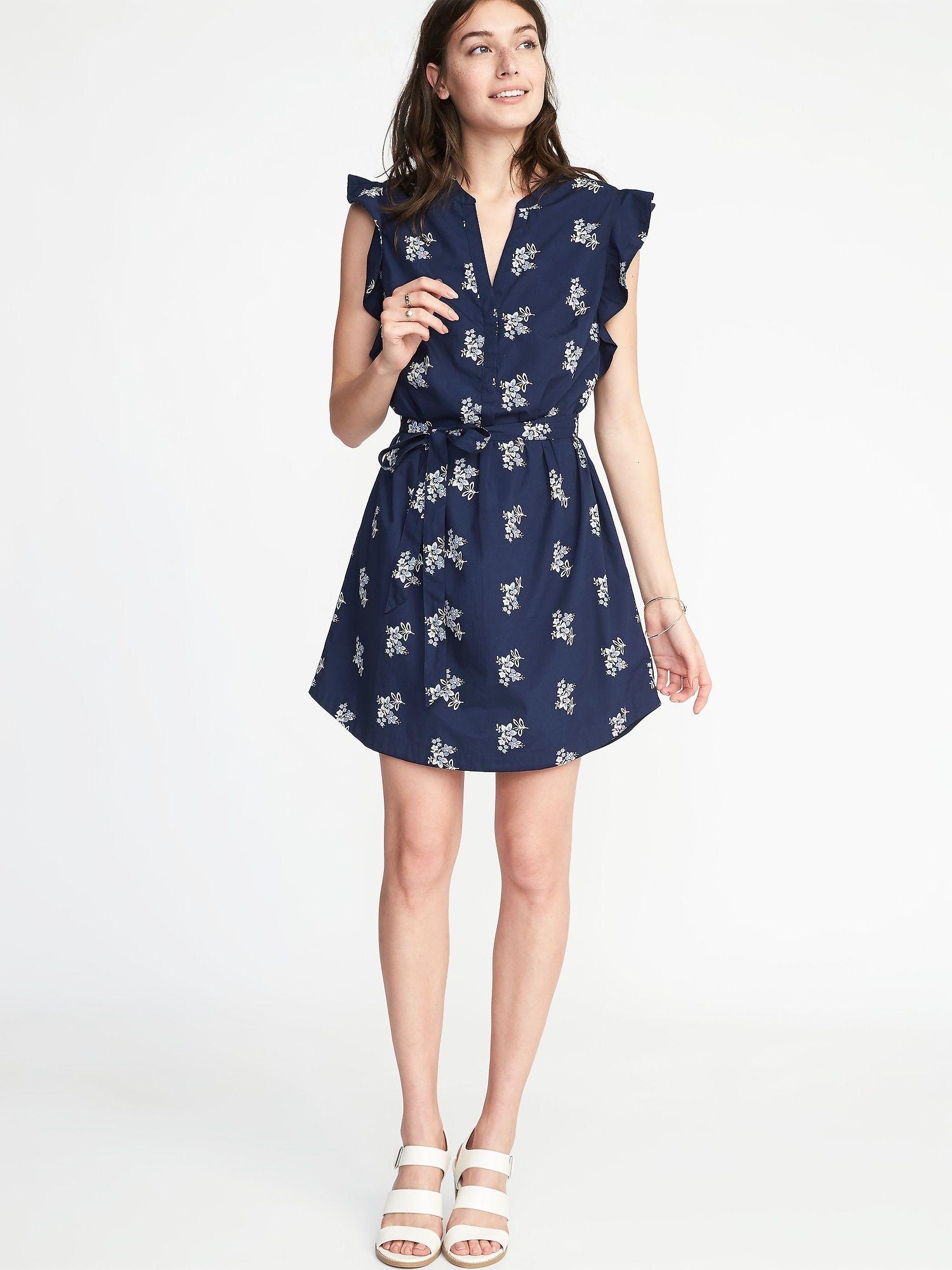 dd665bc34b0 Sleeveless Ruffle-Trim Shirt Dress for Women