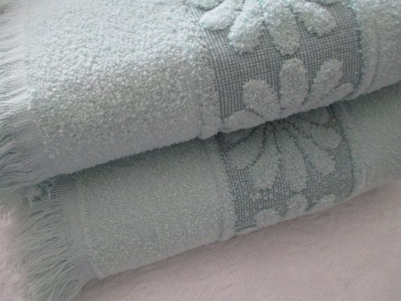 Mint Green Bath Towels Captivating Mint Green Bath Towel Setthehappiehippie On Etsy  Vintage And Decorating Design