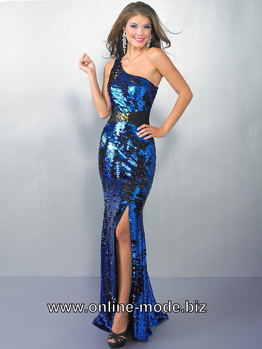 Metallic Look One Shoulder Abendkleid in Dunkel Blau #glitzer