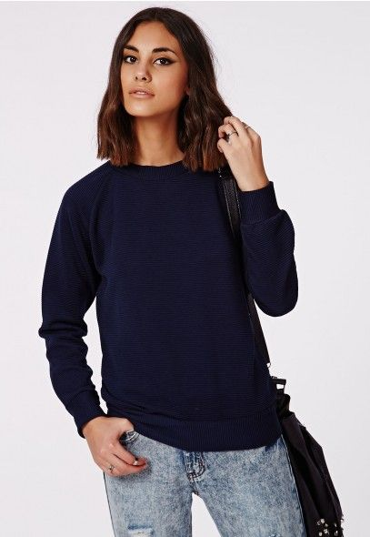 Pujita Ribbed Sweatshirt Navy - Tops - Sweatshirts & Hoodies - Missguided