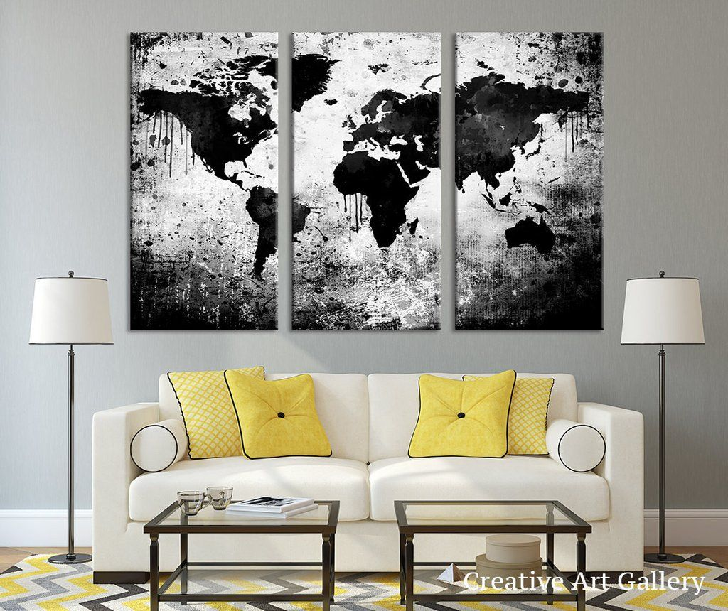 Large Triptych Art Black White World Map Canvas Print, Large World ...