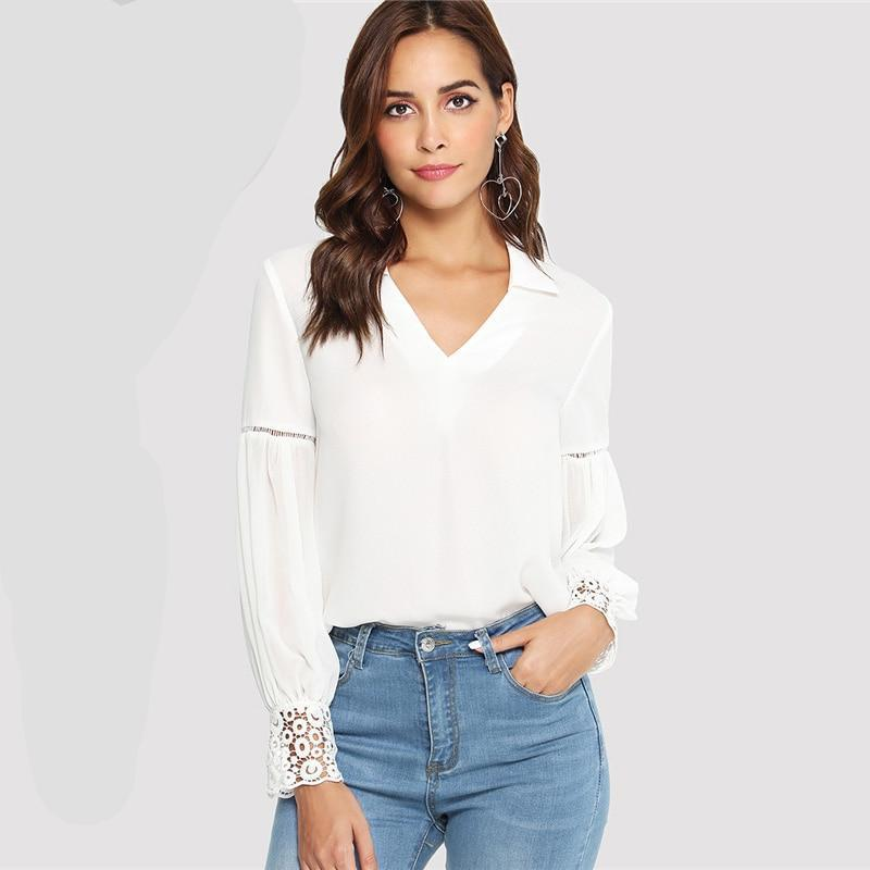 127b900db0 Laser Cut V Neck Long Sleeve Insert Lace Cuff Blouse in 2019 | Tops ...