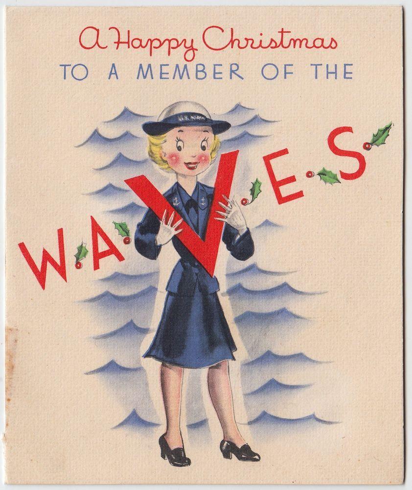 Vintage Greeting Card Christmas Girl V Wwii Era Us Navy E440