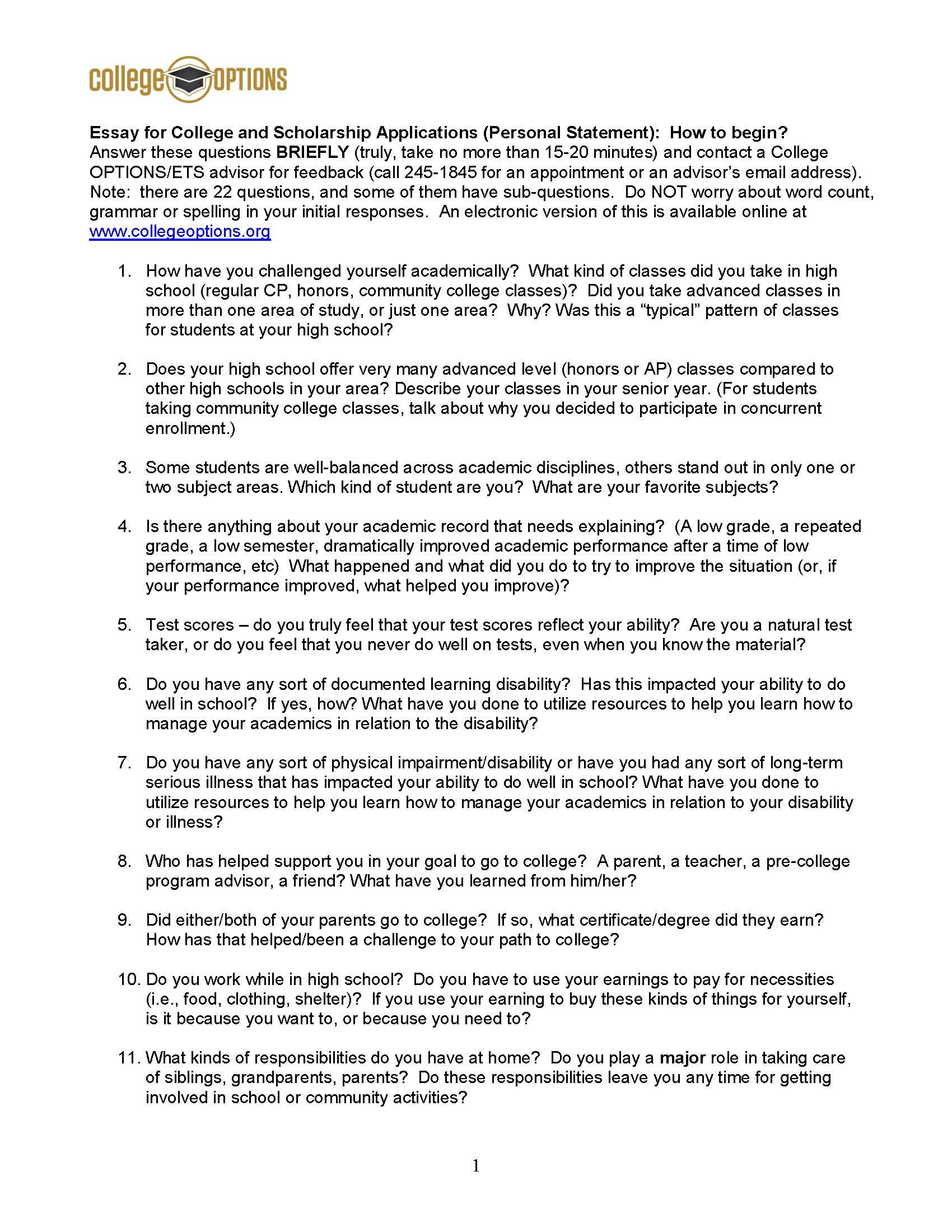 College options scholarship essay examples scholarships