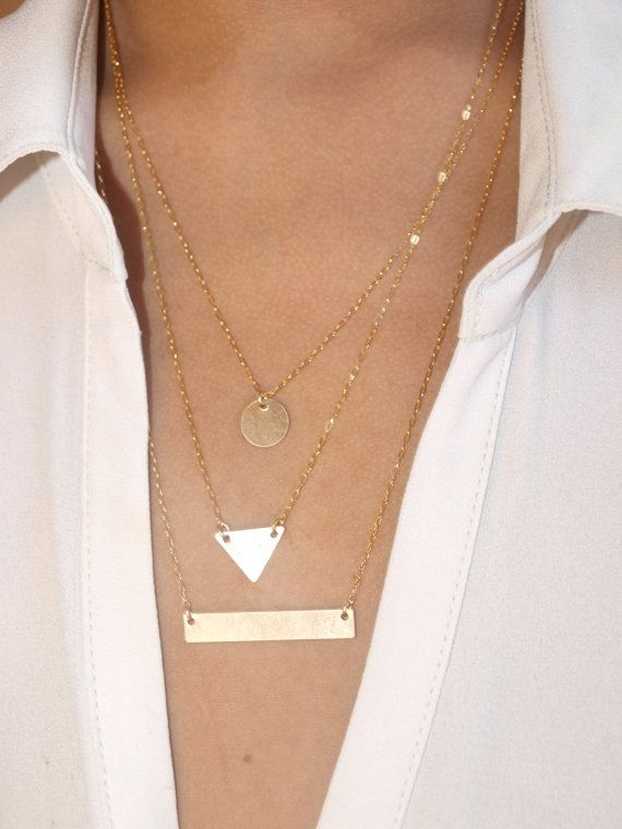 Triple Layered 14k Gold Filled Disc/Triangle/Gold Bar Geometric Necklace