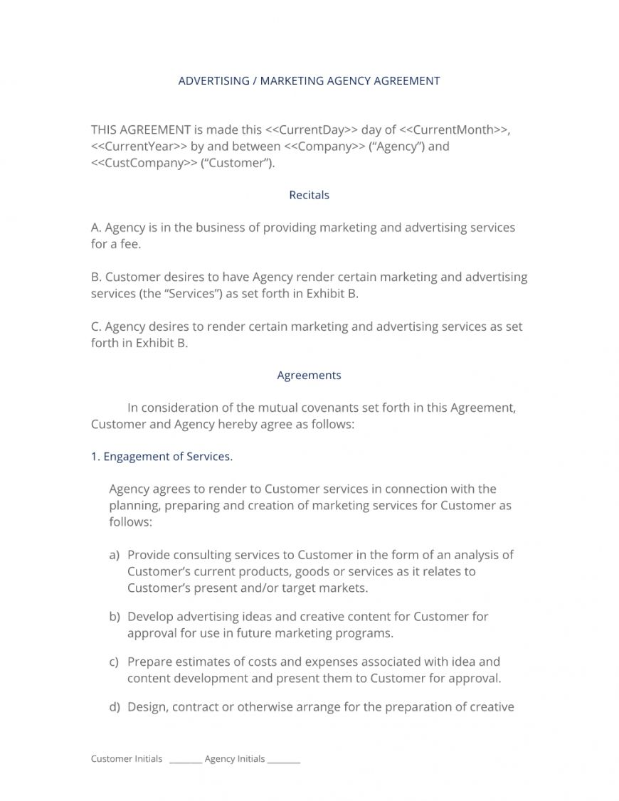 Agency Agreement Template Business Template Marketing Template Templates
