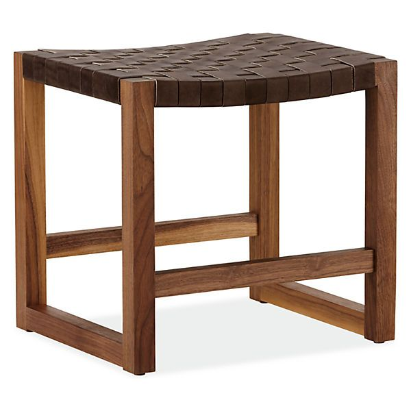 Reed Woven Leather Low Stool