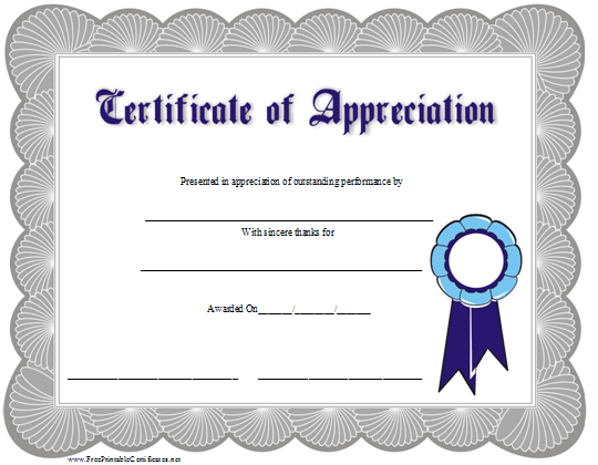 This certificate of appreciation is adorned with a blue ribbon free free printable employee recognition certificates 9 best images of free printable recognition certificate templates yadclub Images