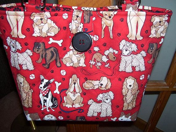 Quilted Dog Purse Bright Red by CutePurseNalities on Etsy, $25.00
