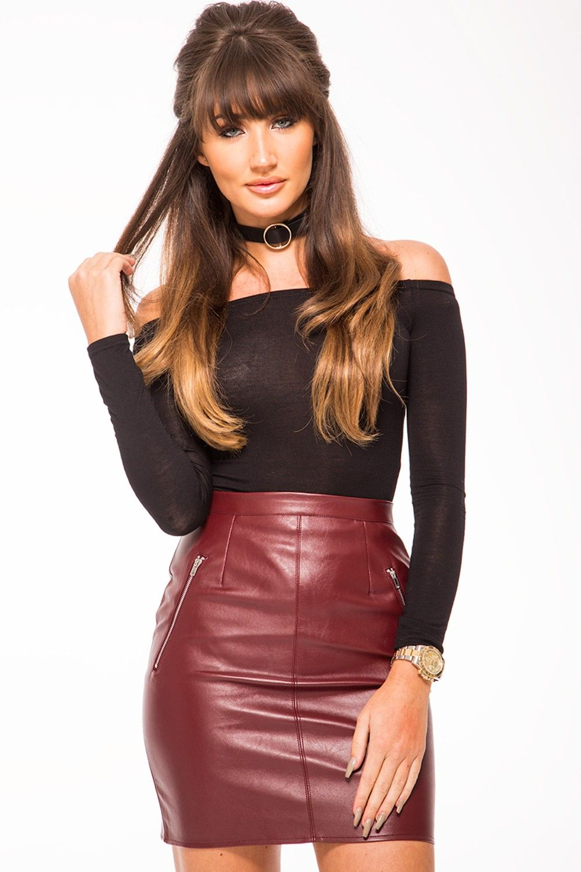 Megan Mckenna Burgundy Vinyl Pu Zip Front Skirt Outfits