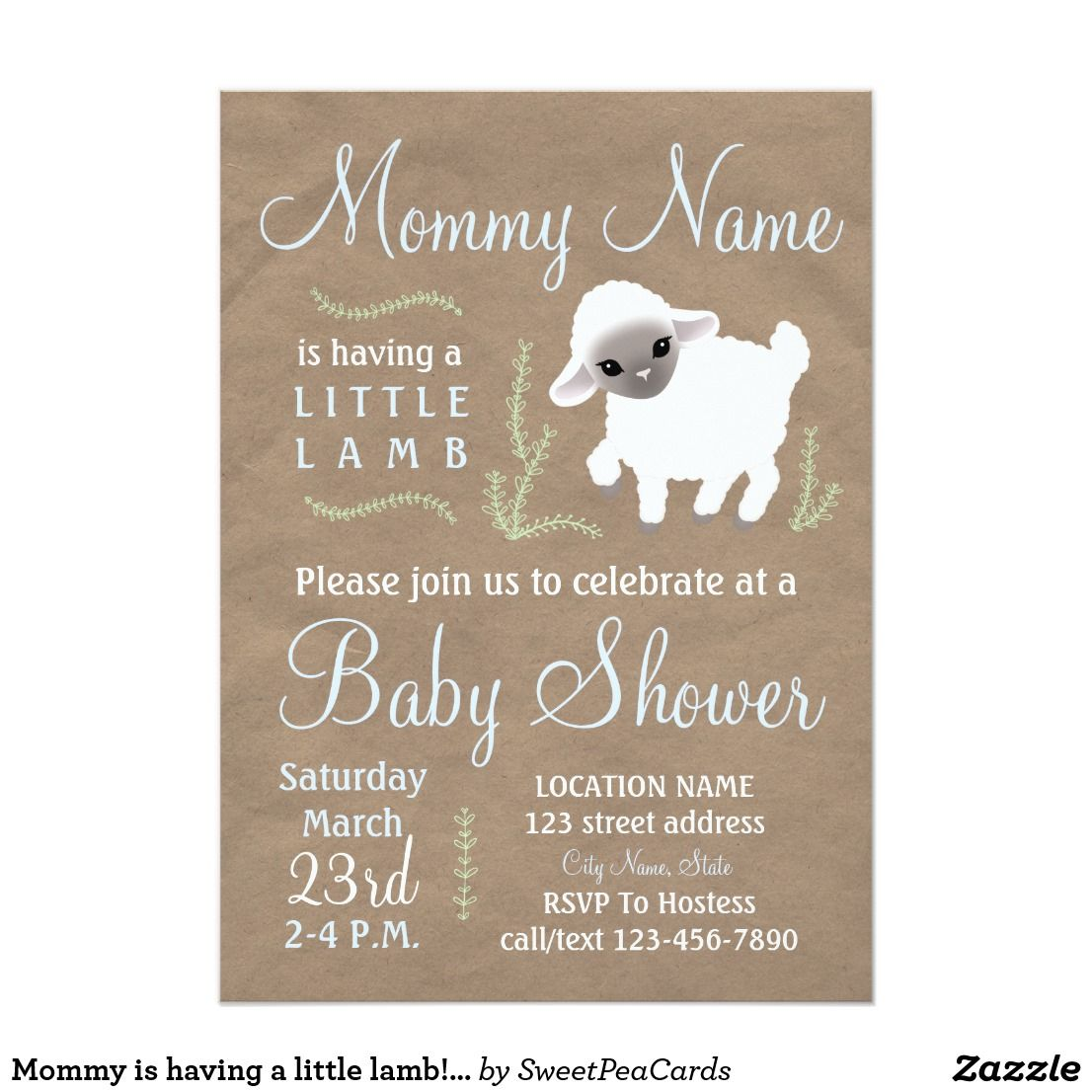 Mommy is having a little lamb! Baby shower invite | Baby Shower ...