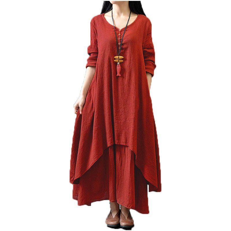 Top Fashion 2016 Autumn Women Casual Loose Long Sleeve Dress Cotton Linen  Solid Long Maxi Dress Vestidos Plus Size S-5XL b1854ce09c40
