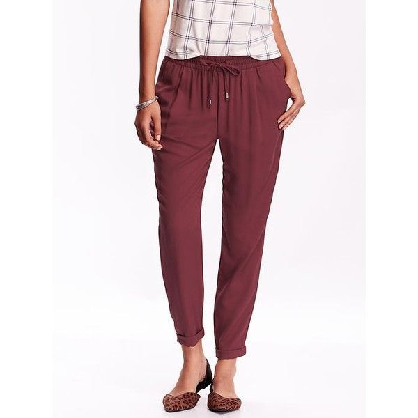 Old Navy Womens Mid Rise Pleated Soft Pants ($33) ❤ liked on Polyvore featuring pants, marion berry, petite, elastic waistband pants, lightweight pants, elastic waist pants, petite trousers and relaxed fit pants