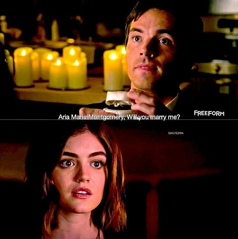 Pretty Little Liars 7x05 Ezria wedding proposal Aria ...