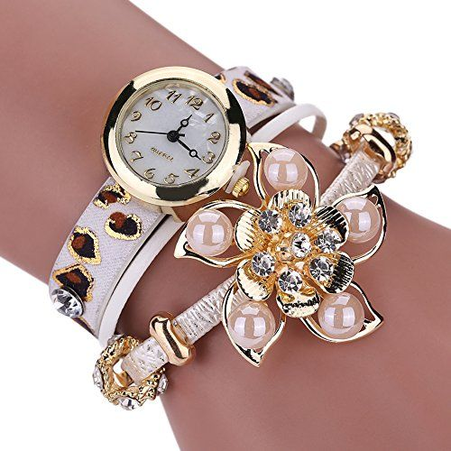 Pretty Women Retro Rhinestone Charm Wrist Watch Diamond Faux Pearl Flower Winding Wrap Leather Bracelet Watch White >>> You can find more watch details by visiting the image link.