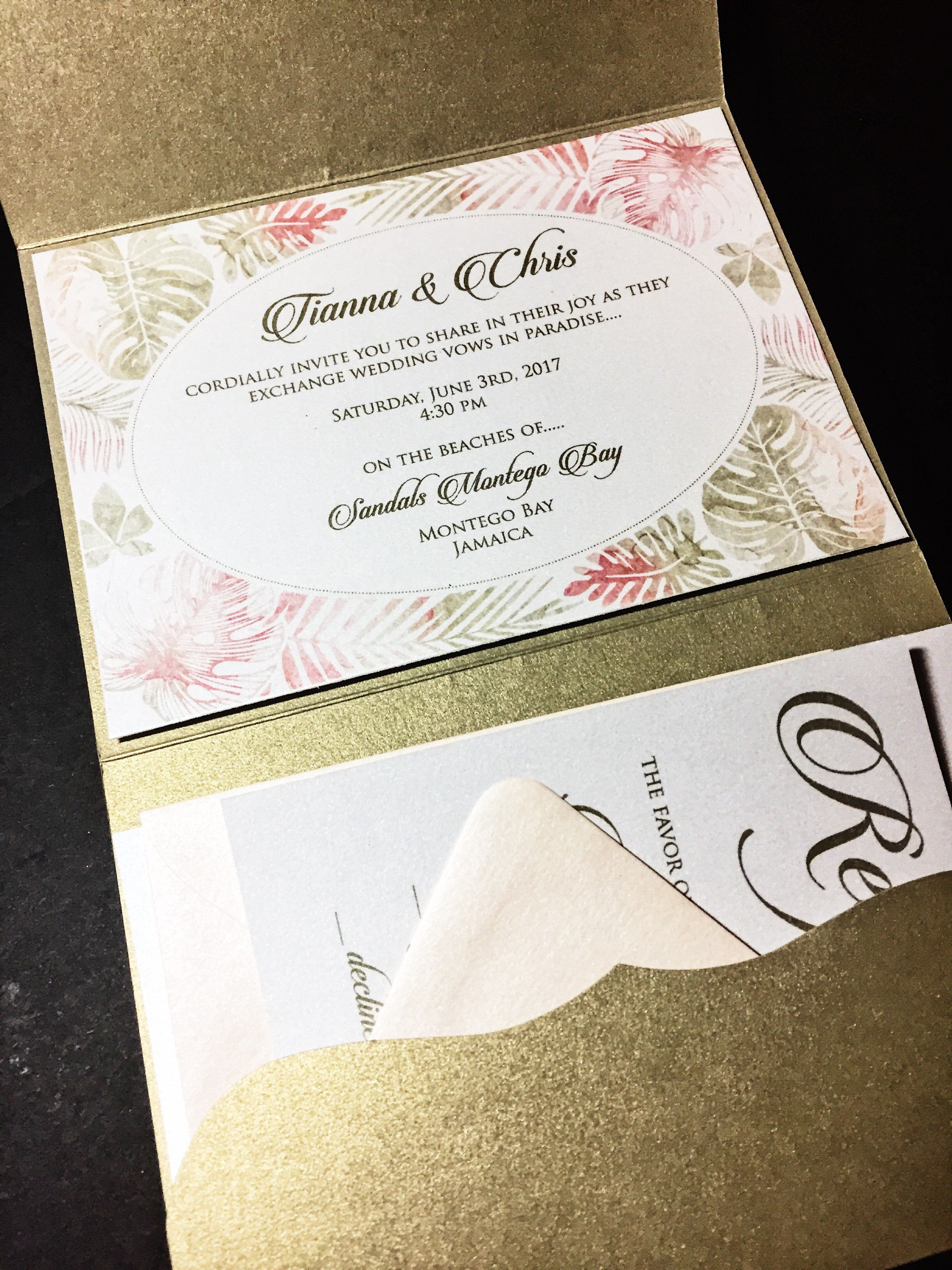 Destination Wedding Invitation - Pocketfold Wedding Invitation ...