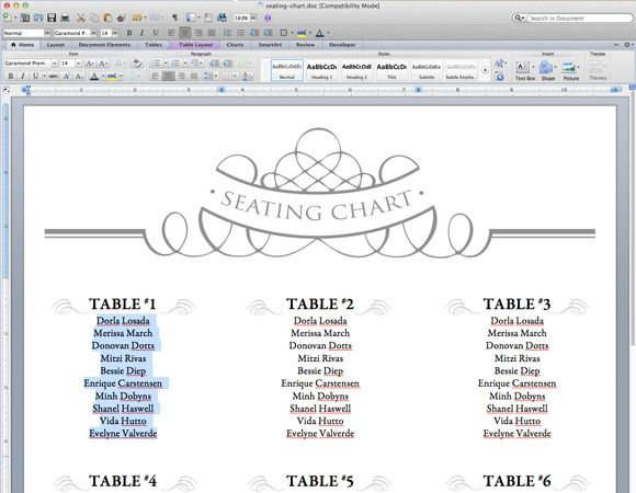 Elegant Diy Table Numbers  Seating Chart  Seating Charts Chart