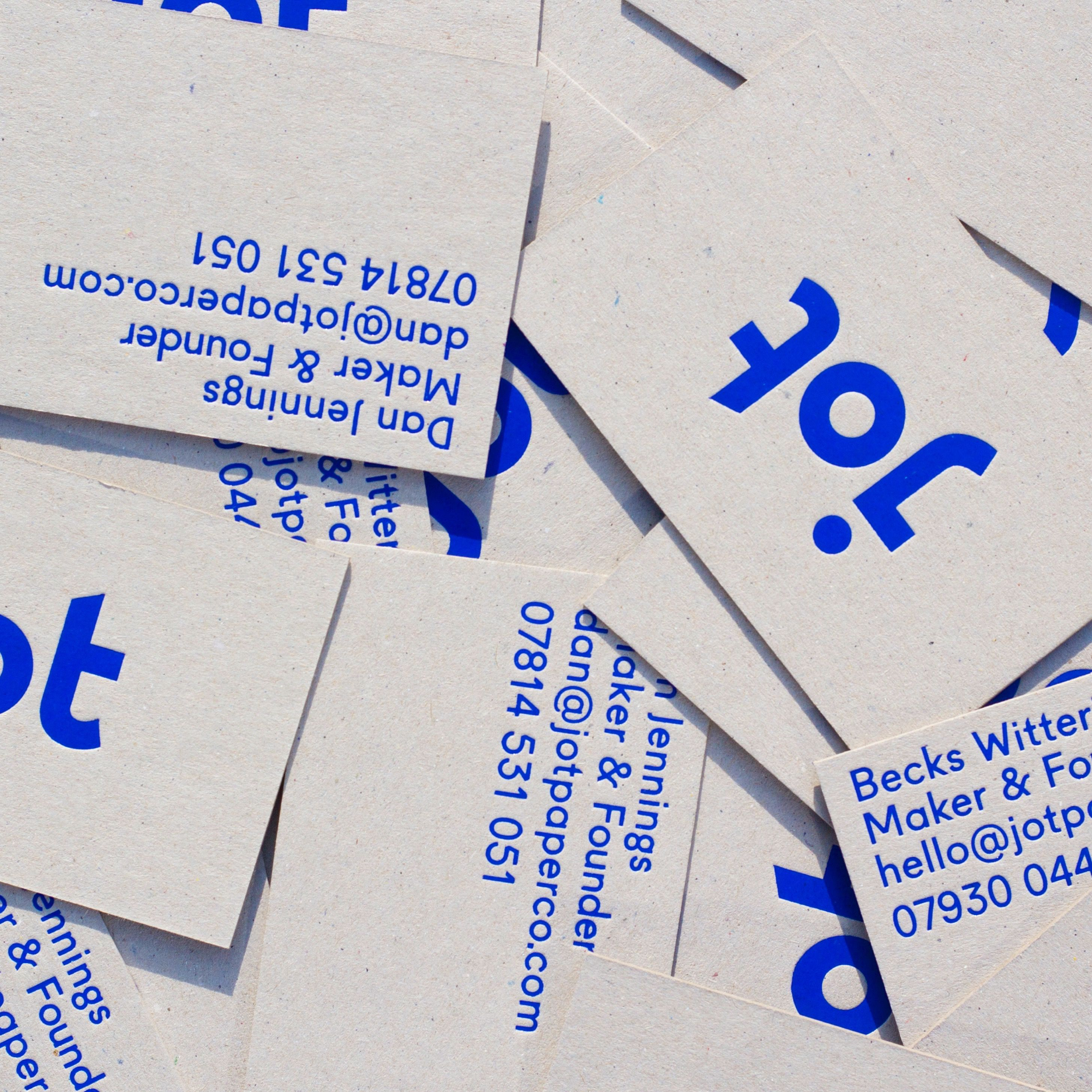 Jot Paper Co. brand identity business card, hand-printed in blue hot-foil on to ...