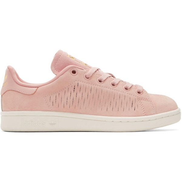 adidas Originals Pink Suede Stan Smith Sneakers (120 CAD) ❤ liked on Polyvore featuring shoes, sneakers, pink, lacing sneakers, adidas originals shoes, pink sneakers, low top and pink shoes