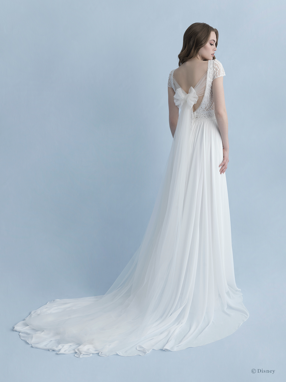 Cap Sleeve V Neckline A Line Wedding Dress With Cotton Lace Bodice Chiffon Skirt And Bow At Ba Rapunzel Wedding Dress Princess Wedding Dresses Wedding Dresses [ 1280 x 960 Pixel ]