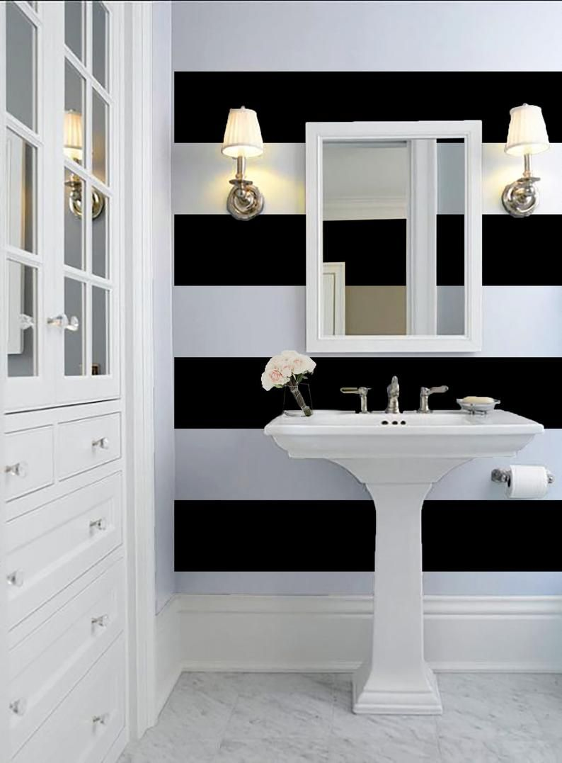 Black And White 12 Stripe Wallpaper Peel N Stick Or Prepasted Vinyl Free Non Toxic Striped Bathroom Walls Striped Wallpaper Striped Wallpaper Bathroom