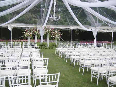 Clear Top Frame Tent With White Chiavari Chairs With White Pads Party Tent Rentals Wedding Tent Tent Wedding