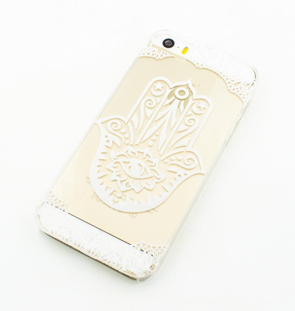 Clear Plastic Case Cover for iPhone 5 5S - (Henna) Hamsa hand of fatima mary khamsa power strength