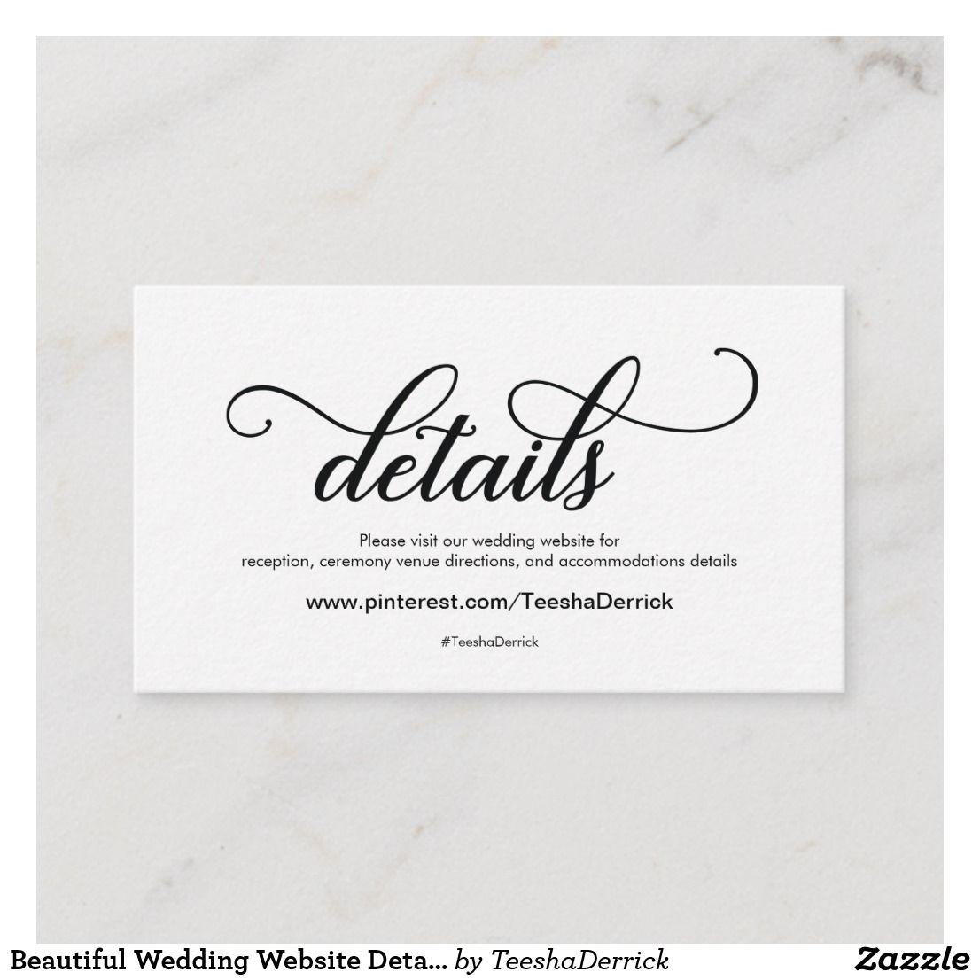 Beautiful Wedding Website Details Enclosure Card Zazzle Com Wedding Website Beautiful Weddings Website Details