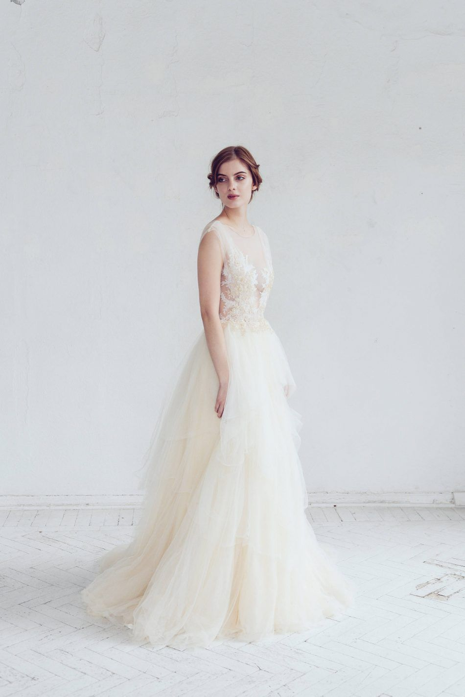 a5aac4e5a4 Champagne   Ivory Tulle Wedding Dress - Chic Vintage Brides   Chic Vintage  Brides